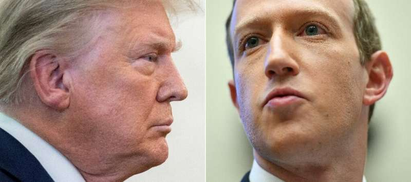 A decision by an independent oversight board to uphold Facebook's ban on former US president Donald Trump (L) leaves the social