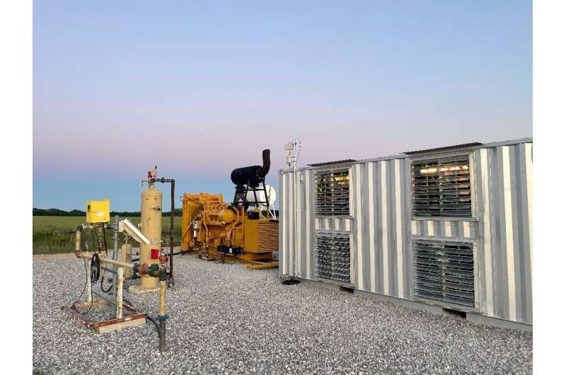 A handout photo from Giga Energy Solutions shows a natural gas generator powering a bitcoin mining center in north Texas in May