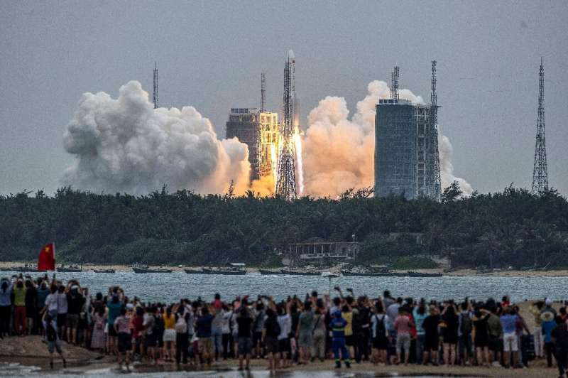 A Long March 5B rocket carrying China's Tianhe space station core module lifts off from the Wenchang Space Launch Center on Apri