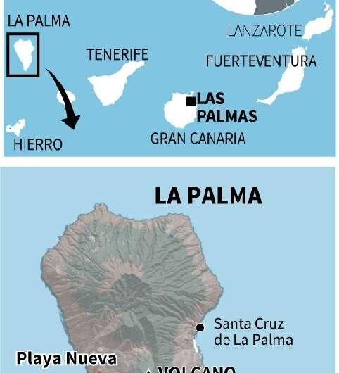 Eine Karte, die zeigt, wo Lava des Vulkans Cumbre Vieja das Meer auf der Kanareninsel La Palma erreicht hat