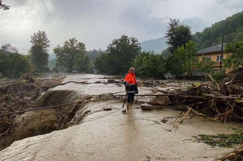 A road swept away by the floodwaters near Kastamonu, Turkey