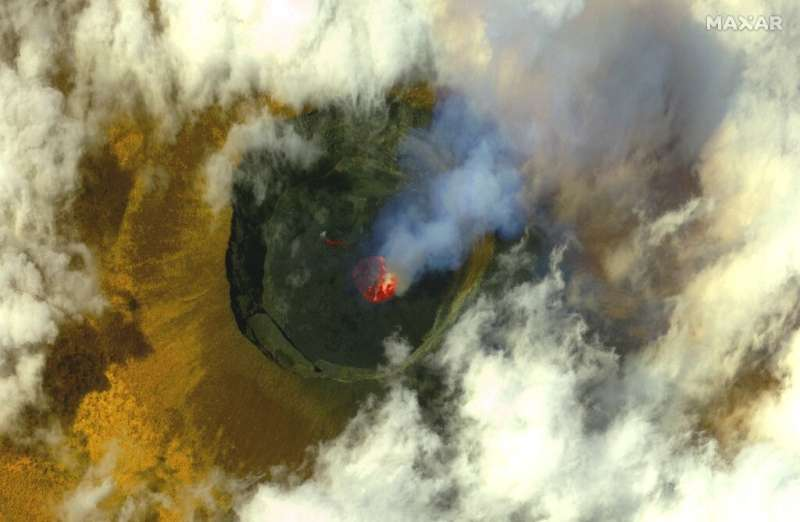 A satellite image released on May 25 by Maxar Technologies gives a bird's-eye view of the volcano before its eruption