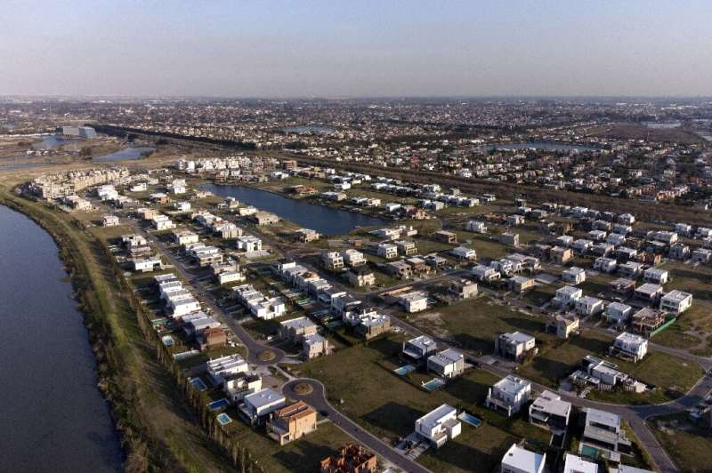 Aerial view of luxury gated communities built on wetlands from the Parana river in Argentina