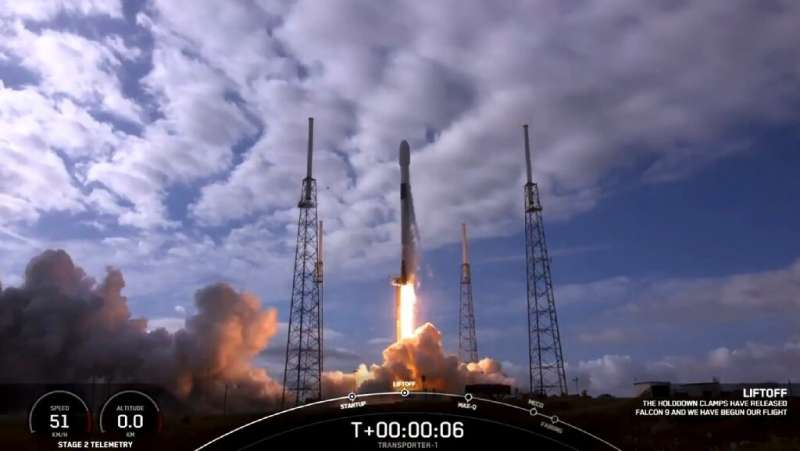 A framegrab of video of the SpaceX launch on January 24, 2021