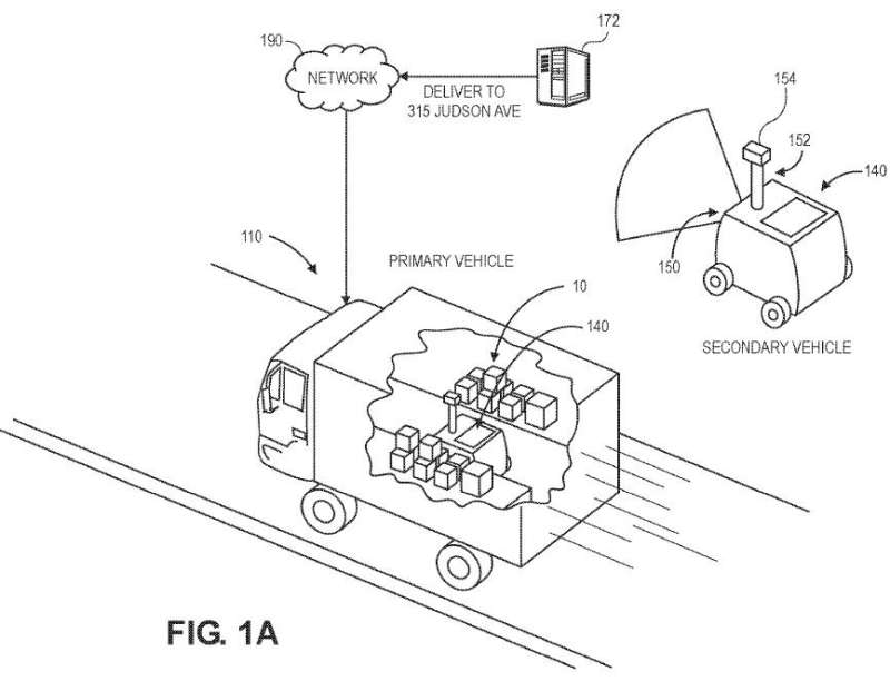 Amazon applies for patent on secondary delivery vehicle to carry packages from truck to doorstep
