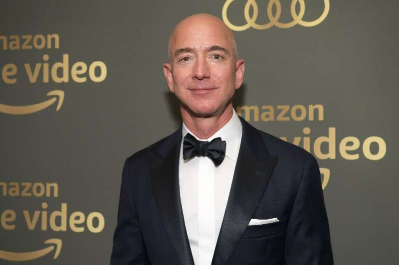 Amazon founder Jeff Bezos, who has long had ambitions in the entertainment world, is seen at Prime Video's Golden Globe Awards A