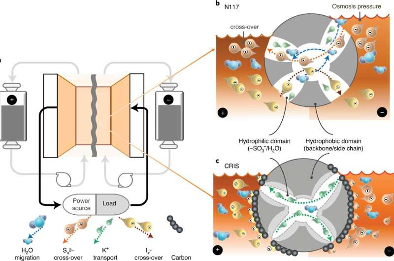 A membrane design that prevents crossover in polysulfide redox flow batteries