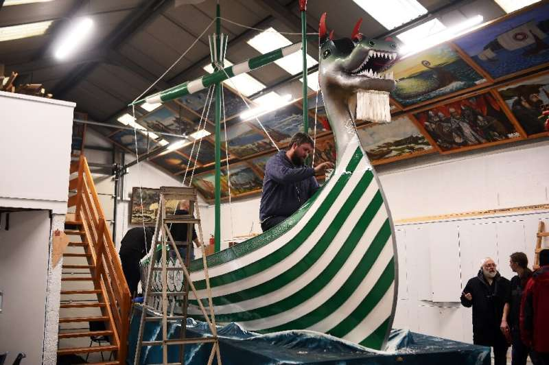 A model Viking longship in the Shetland Islands