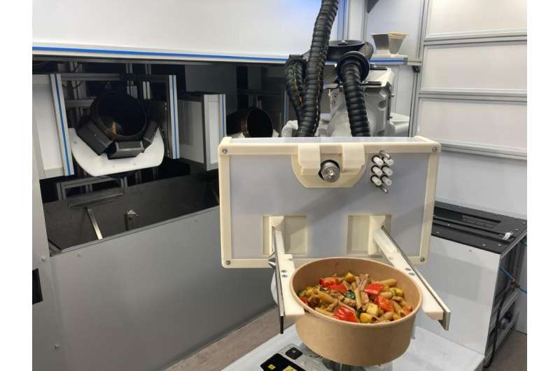 An automated kitched developed by the startup RoboEatz  and launching at the 2021 Consumer Electronics Show prepares, cooks and
