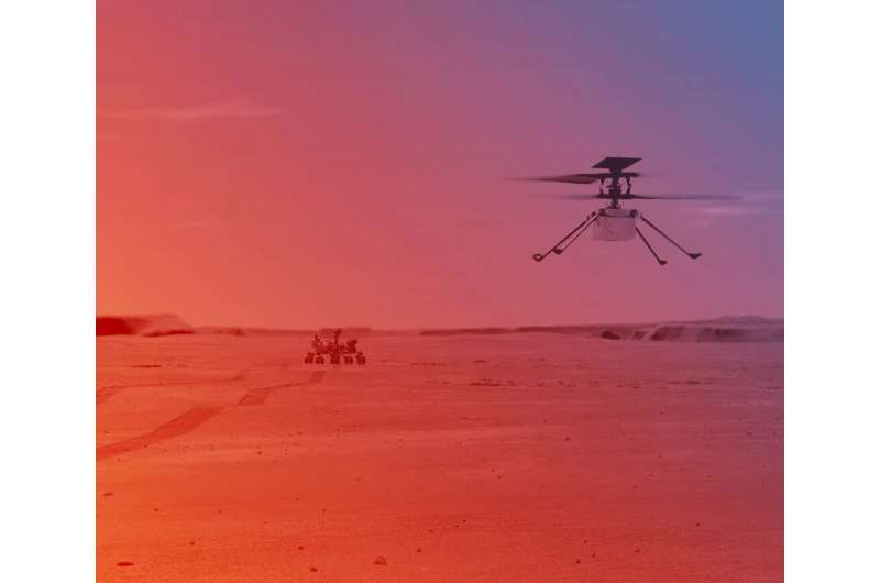 An illustration of NASA's Ingenuity Helicopter flying on Mars