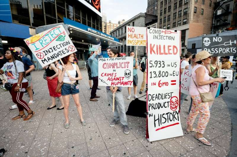 Anti-vaccination activists protest in New York City on June 20, 2021