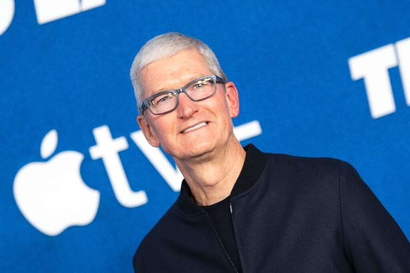 """Apple CEO Tim Cook attends Apple's """"Ted Lasso"""" season two premiere event red carpet at the Pacific Design Center, in W"""