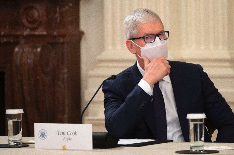 Apple CEO Tim Cook attends a meeting with US President Joe Biden on how to improve cybersecurity