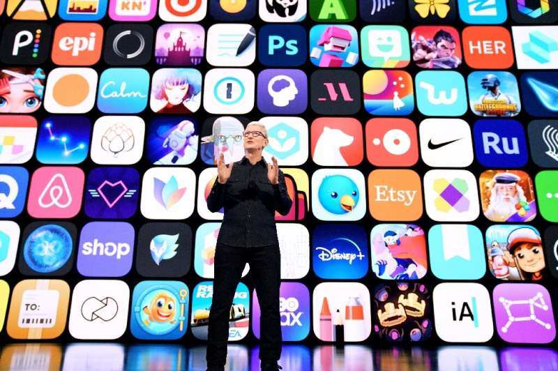 Apple CEO Tim Cook speaks to the Worldwide Developers Conference in June 2021. Apple's online marketplace got the largest share