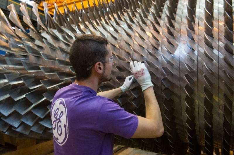 At work on a GE turbine in Belfort, eastern France.