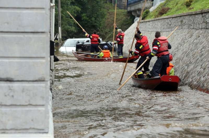 """Austrian firefighters flew to Belgium to join the rescue effort after """"unprecedented"""" floods"""