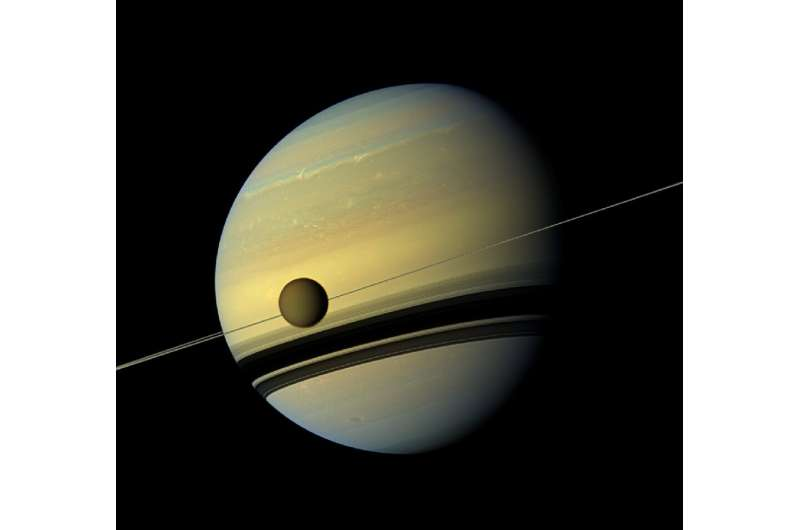 A view of Saturn and Titan from Cassini in 2012
