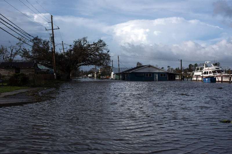 Bayou water floods into Montegut, Louisiana on August 30, 2021 after Hurricane Ida made landfall—so far, four people have been k