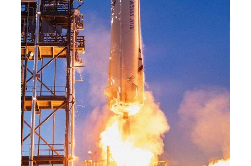 Blue Origin's New Shepard rocket burns liquid hydrogen and liquid oxygen, which burn as water vapor.