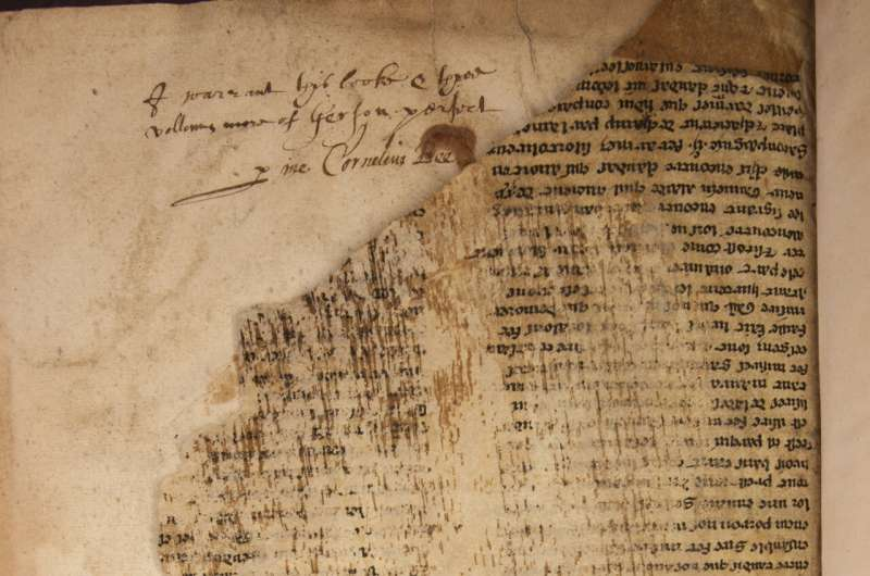 Fragment of the legendary Bristol manuscript of Marlin, famous among the oldest of its kind