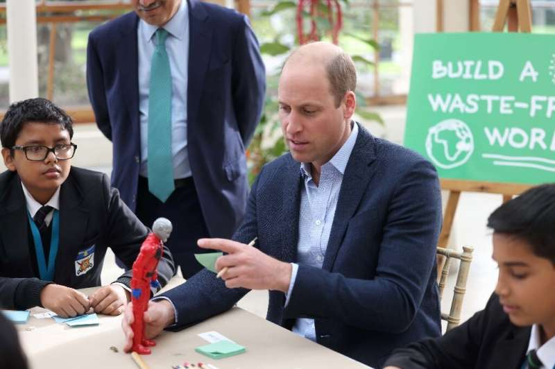 Britain's Prince William visits a London school to promote the 'Generation Earthshot' educational initiative
