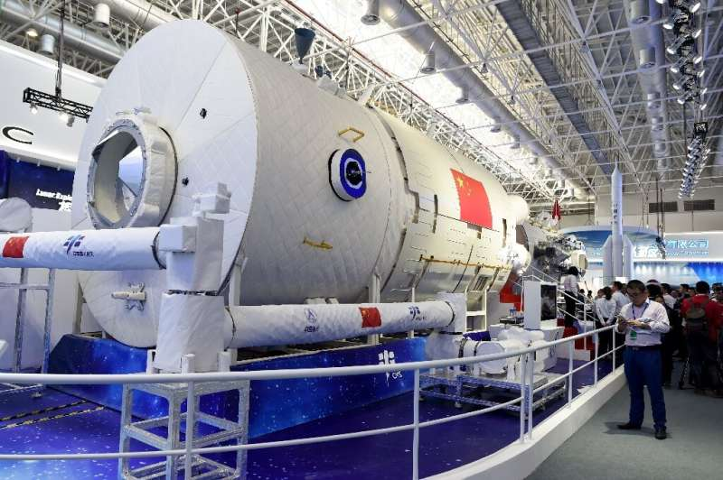 China's space ambitions include a crewed space station, a partial model of which is pictured here in 2018