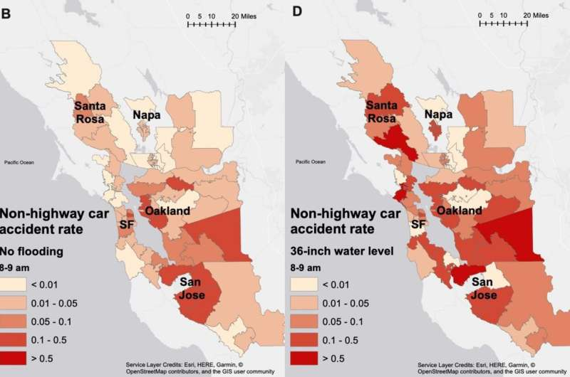 Coastal flooding increases Bay Area traffic delays and accidents