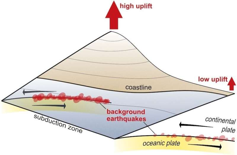 Continuous activity of small earthquakes makes mountains grow
