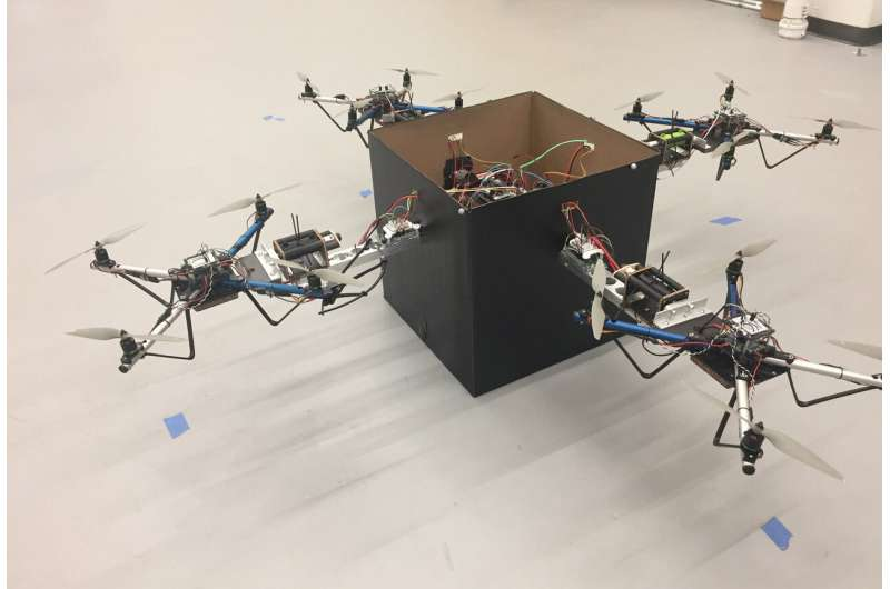 Control system helps several drones team up to deliver heavy packages