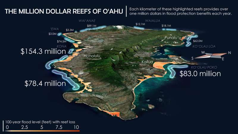 Coral reefs prevent more than $5.3 billion in potential flood damage for US property owners