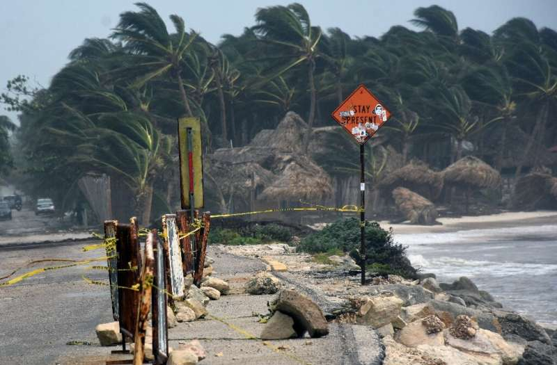 Destruction from Hurricane Grace is seen in Tulum, Mexico, on August 19, 2021