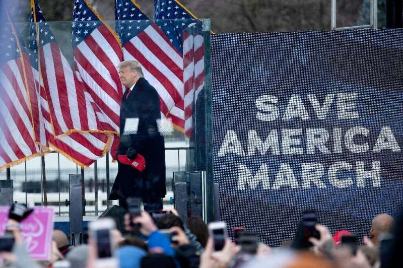 Donald Trump is seen addressing supporters flooding the nation's capital ahead of the insurrection at the US Capitol on January