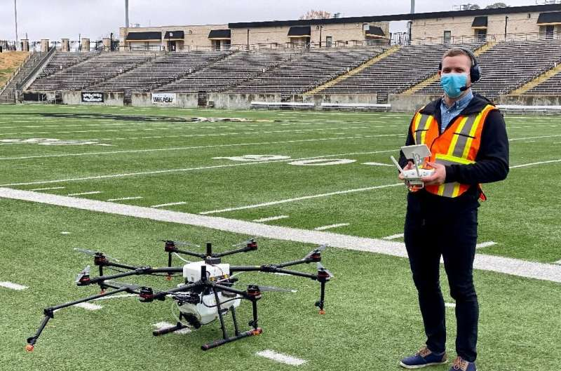 Draganfly says its drones, which have been deployed to disinfect stadiums during the pandemic, can be used to monitor social dis