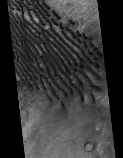 Dunes trapped in a crater on Mars form this interesting pattern