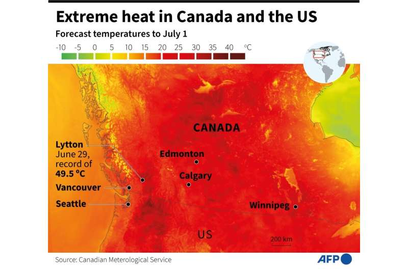 Eastern Canada and the US have posted record temperatures during an extreme heat waves, map showing forecast temperatures to Jul