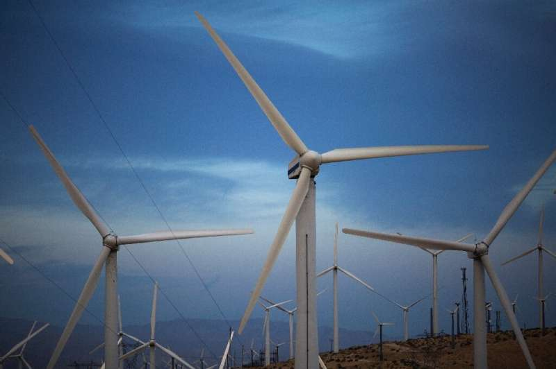 Electric energy generating wind turbines are seen on a wind farm in the San Gorgonio Pass area in Palm Springs