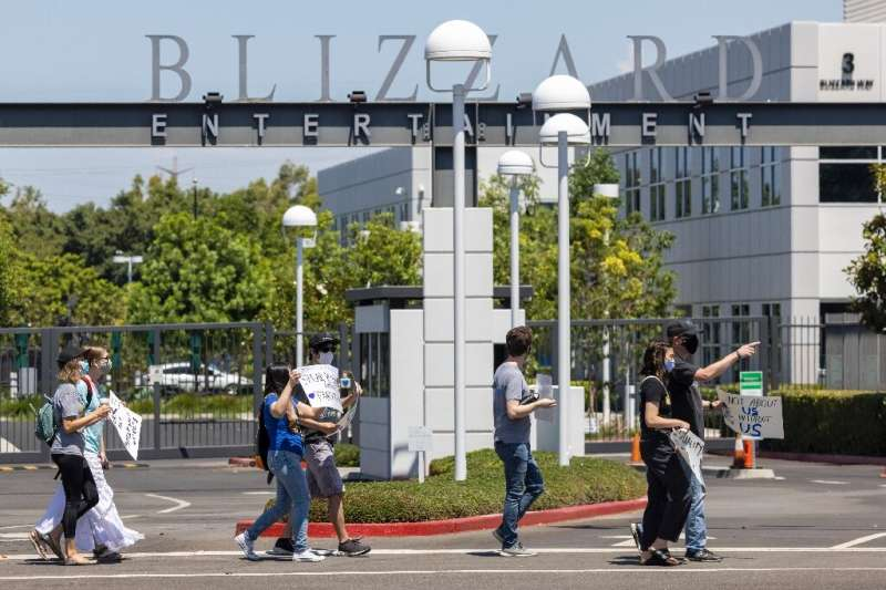 Employees of the video game company Activision Blizzard hold a walkout on July 28, 2021 to protest against sexism and harassment