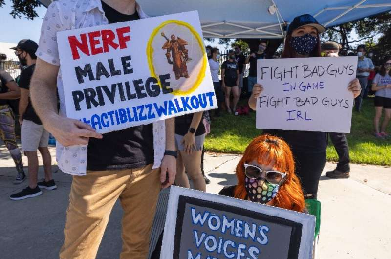 Employees of the video game company, Activision Blizzard, hold a walkout and protest rally to call for changes in conditions for