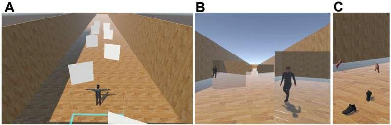 Enhancing virtual walking sensation for seated observer using walking avatars