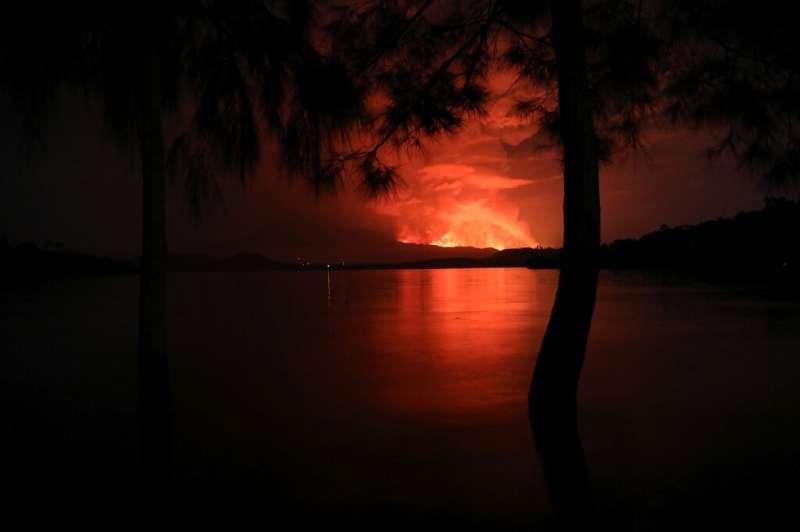 Eruption: Mount Nyiragongo and Lake Kivu last Saturday
