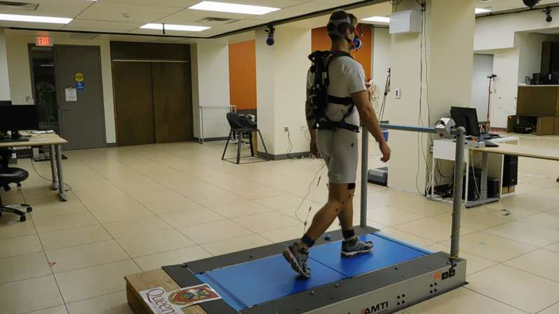 Exoskeleton reduces amount of work required to walk