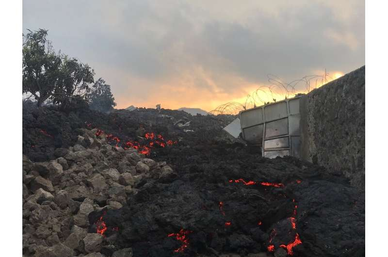Fire and strong fumes emanated from the molten rock