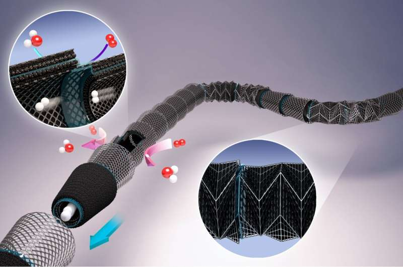 Flexible origami-based tubular polymer electrolyte membrane fuel cell