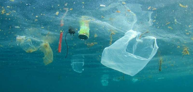 Floating ocean plastic can get a boost to its wave-induced transport because of its size