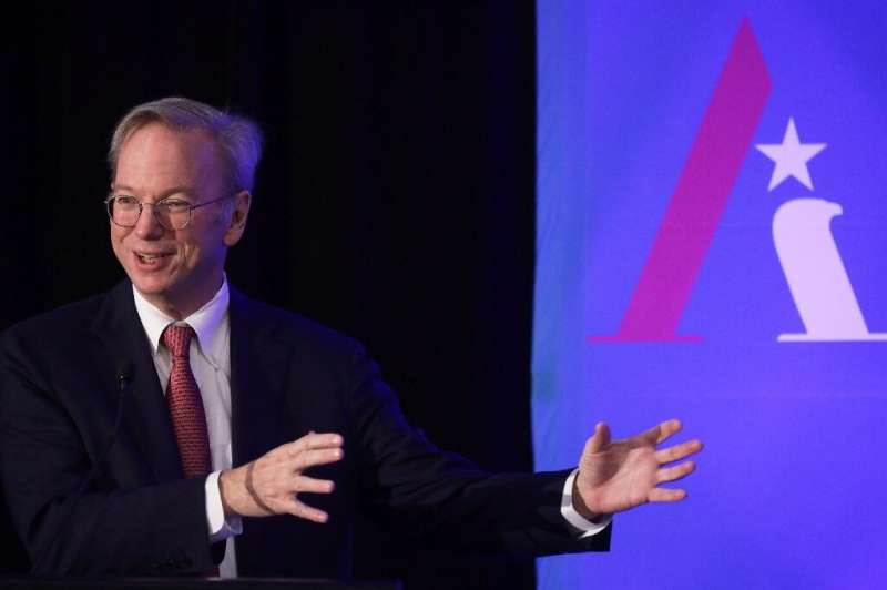 Former Alphabet and Google CEO Eric Schmidt is seen at a 2019 conference of the National Security Commission on Artificial Intel