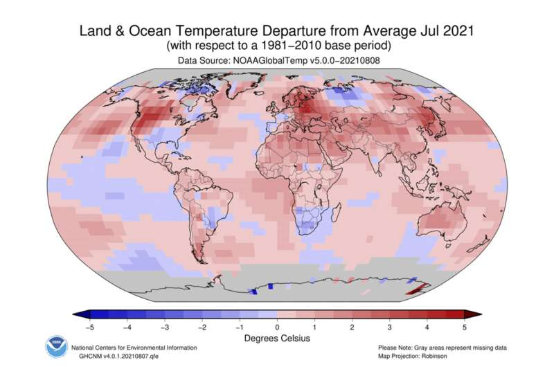 Global sizzling: July was hottest month on record, NOAA says
