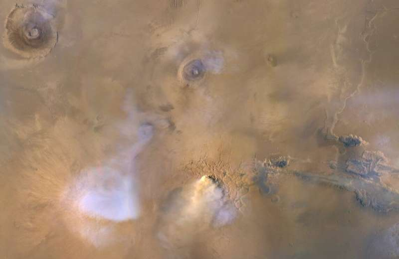 Global trio of orbiters shows small dust storms help dry out Mars