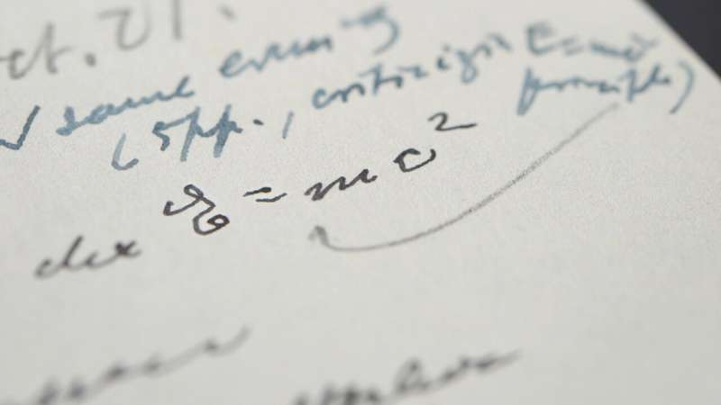 Handwritten example of famous Einstein equation gets $1.2M