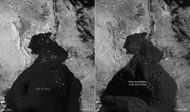 Image: Suez Canal traffic jam seen from space