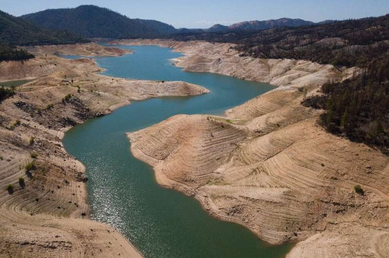 In a sign of California's drought, Lake Oroville in May 2021 was at half its normal water level for the time of year